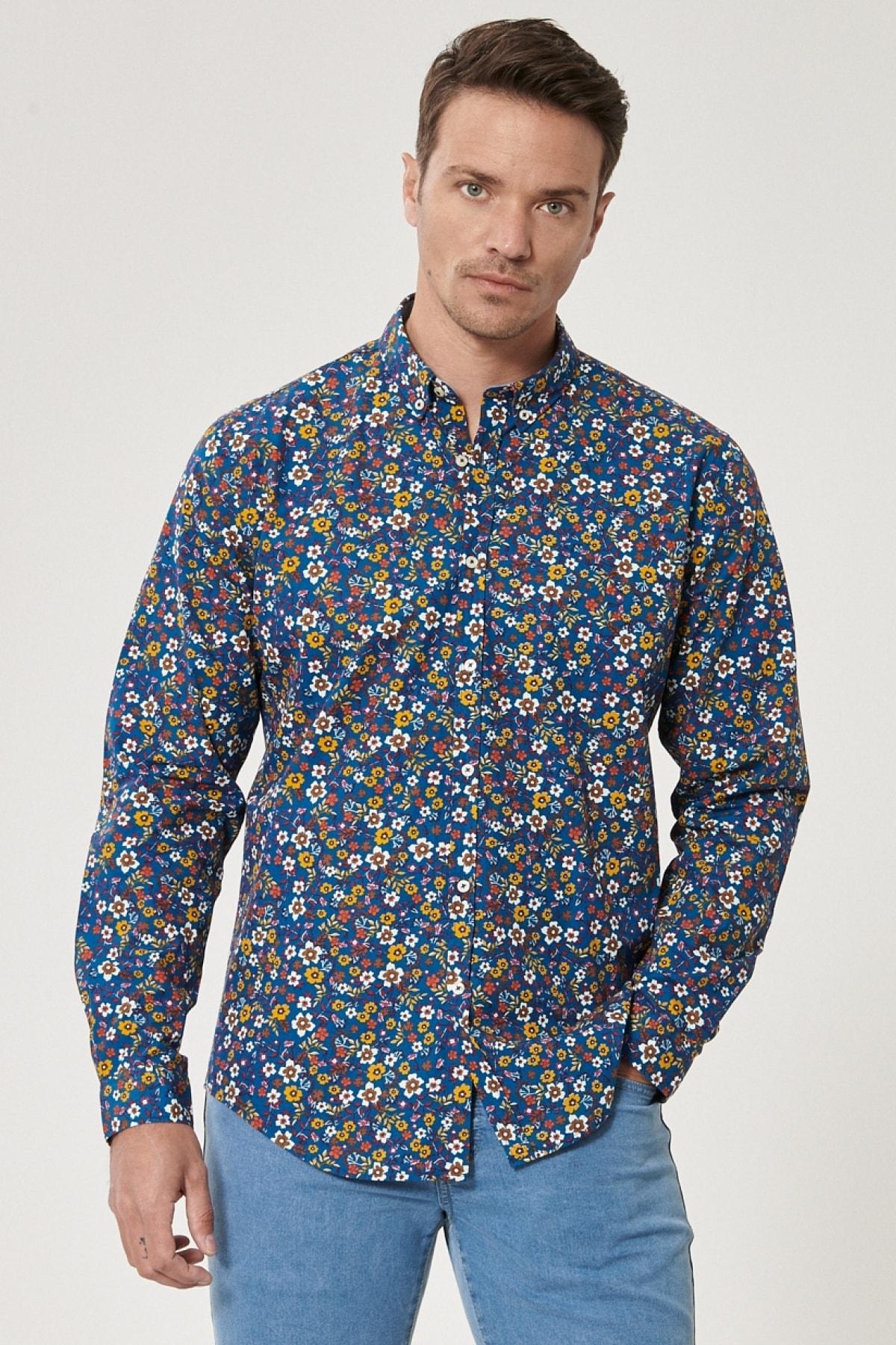 Erkek Mavi-sarı Tailored Slim Fit Düğmeli Yaka Baskılı %100 Koton Gömlek