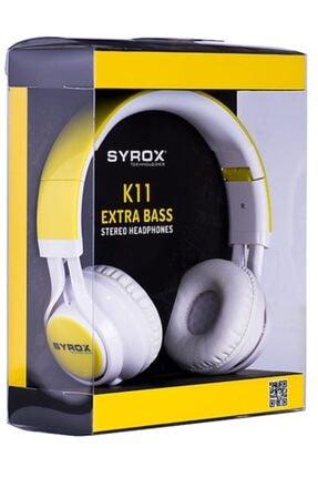 Syrox Kulaküstü Mikrofonlu Aux Kablolu Kulaklık K11 Sarı 0