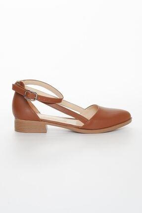 MaskButik Kadın Taba Rayna Kısa Topuk Cilt Ayakkabı 2