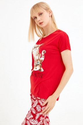 Fullamoda Kadın Kırmızı Kedi Baskılı Tshirt 1