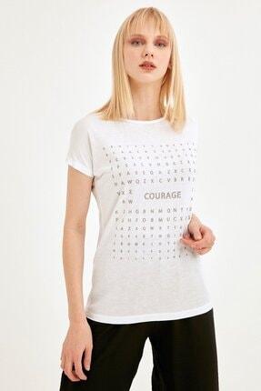 Fullamoda Kadın Beyaz Simli Courage Baskılı Tshirt 0