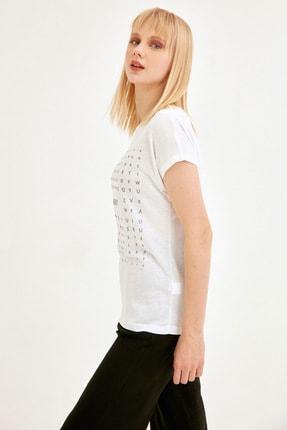Fullamoda Kadın Beyaz Simli Courage Baskılı Tshirt 1