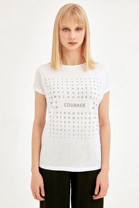 Fullamoda Kadın Beyaz Simli Courage Baskılı Tshirt 2