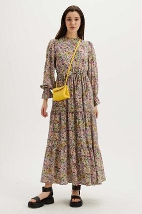 Floral Desenli Viskon Elbise - Mint Yeşili HY21997-MİNT YEŞİLİ