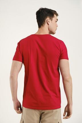 Oksit Erkek Kırmızı Riley V Yaka Slim Fit Basic Tshirt 2