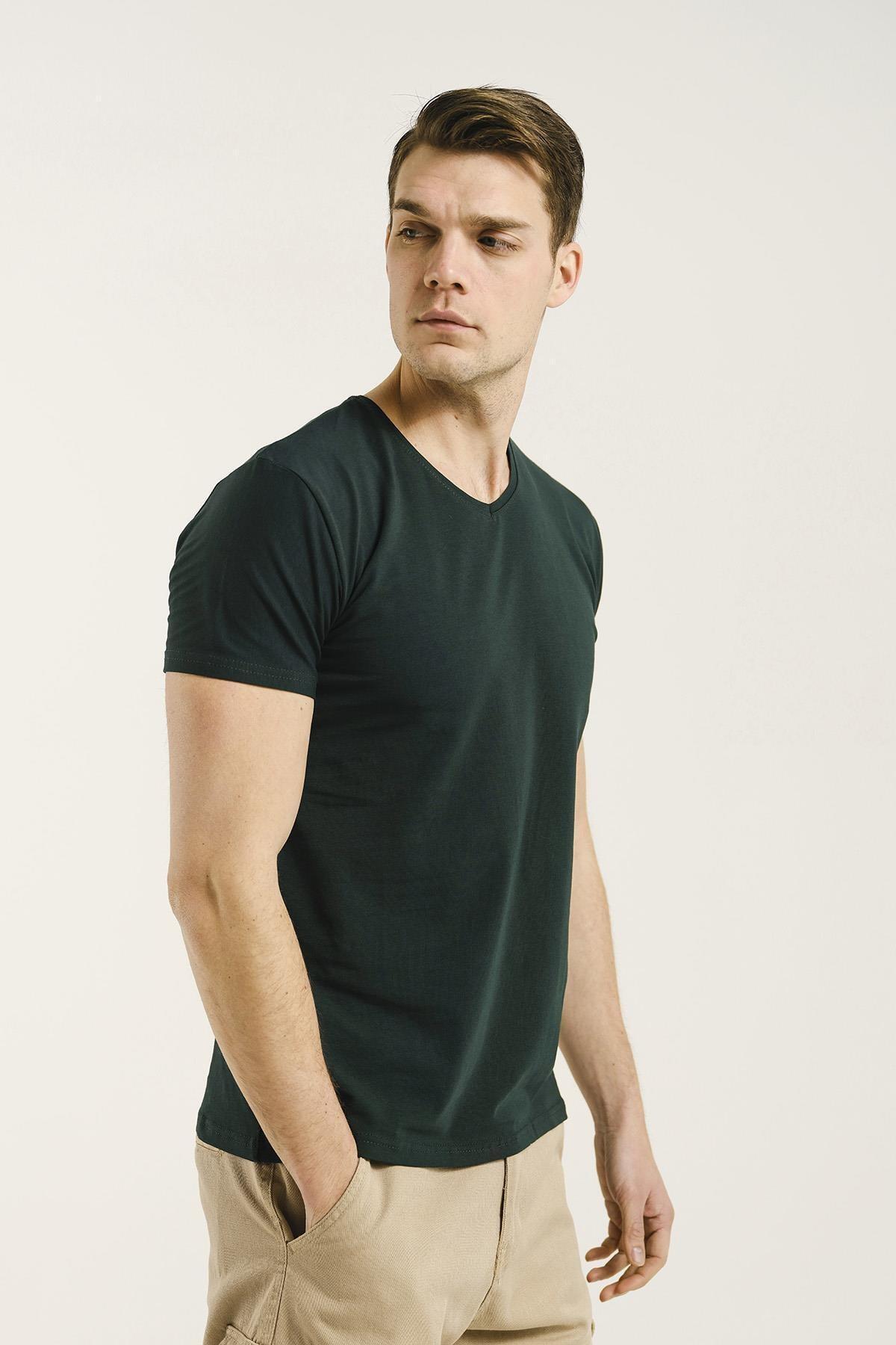 Oksit Erkek Yeşil Riley V Yaka Slim Fit Basic Tshirt