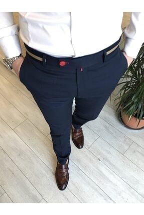 TerziAdemAltun Italyan Stil Slim Fit Erkek Kumaş Pantolon Koyu Lacivert T4422 0