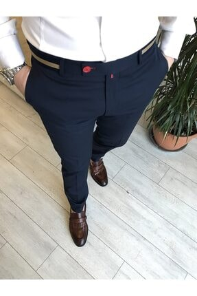 TerziAdemAltun Italyan Stil Slim Fit Erkek Kumaş Pantolon Koyu Lacivert T4422 2