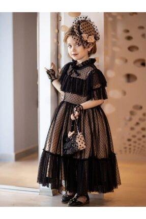 Riccotarz Kız Çocuk Noble Beaute Şapkalı Siyah Abiye 3