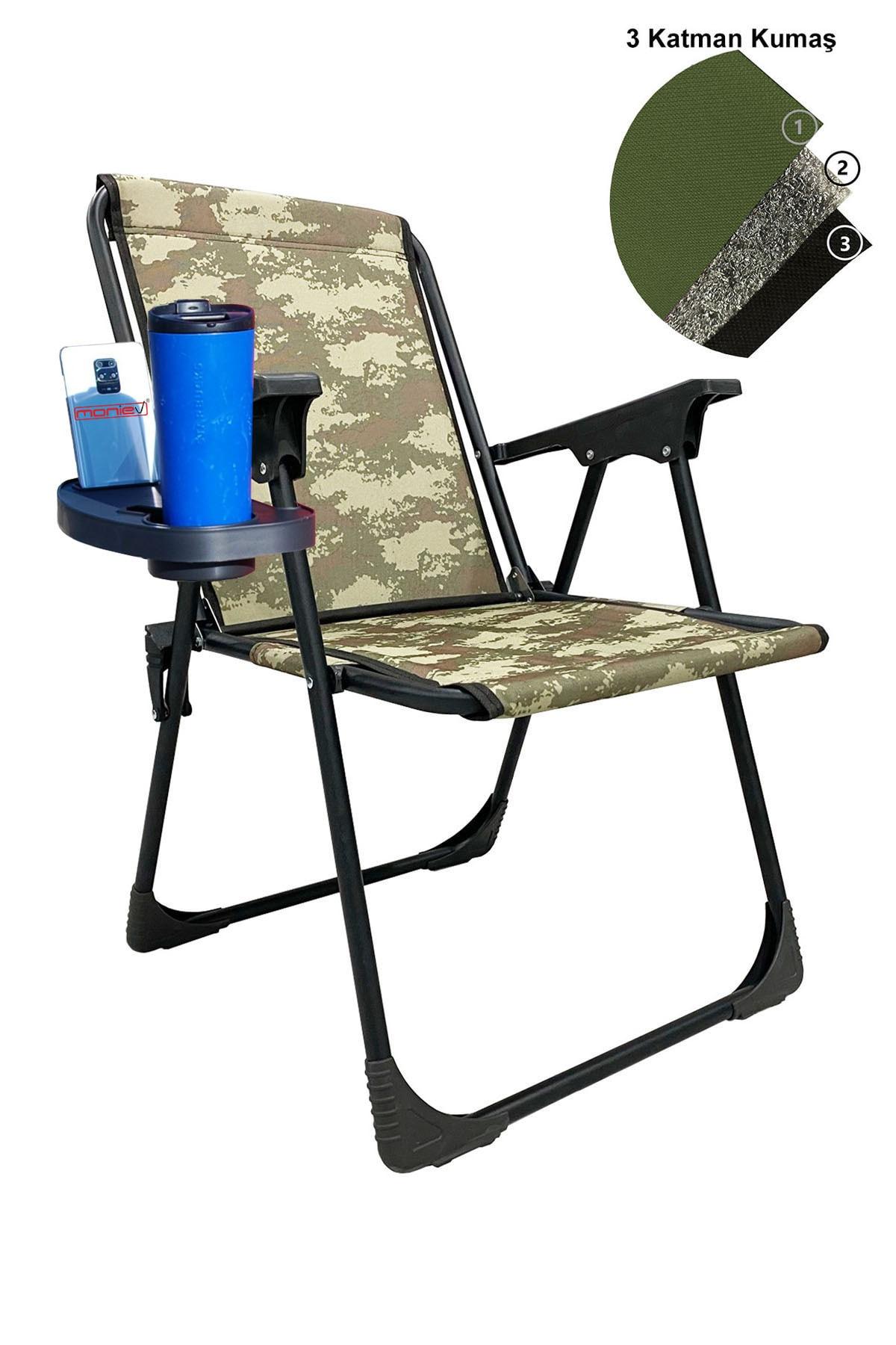 Katlanır Kamp Piknik Sandalyesi Plaj Koltuğu Katlanır Şezlong Ve Oval Bardaklık Kamuflaj