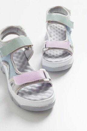 LuviShoes Kadın Gri Sandalet 4740 0
