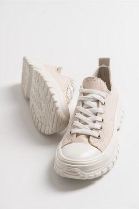 LuviShoes Kadın Krem Keten Spor Ayakkabı1453 1