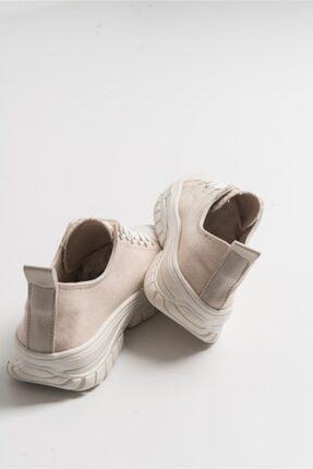 LuviShoes Kadın Krem Keten Spor Ayakkabı1453 4