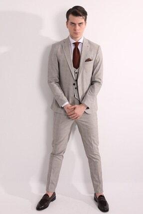 تصویر از Bej Yelekli Erkek Takım Elbise - Slım Fıt