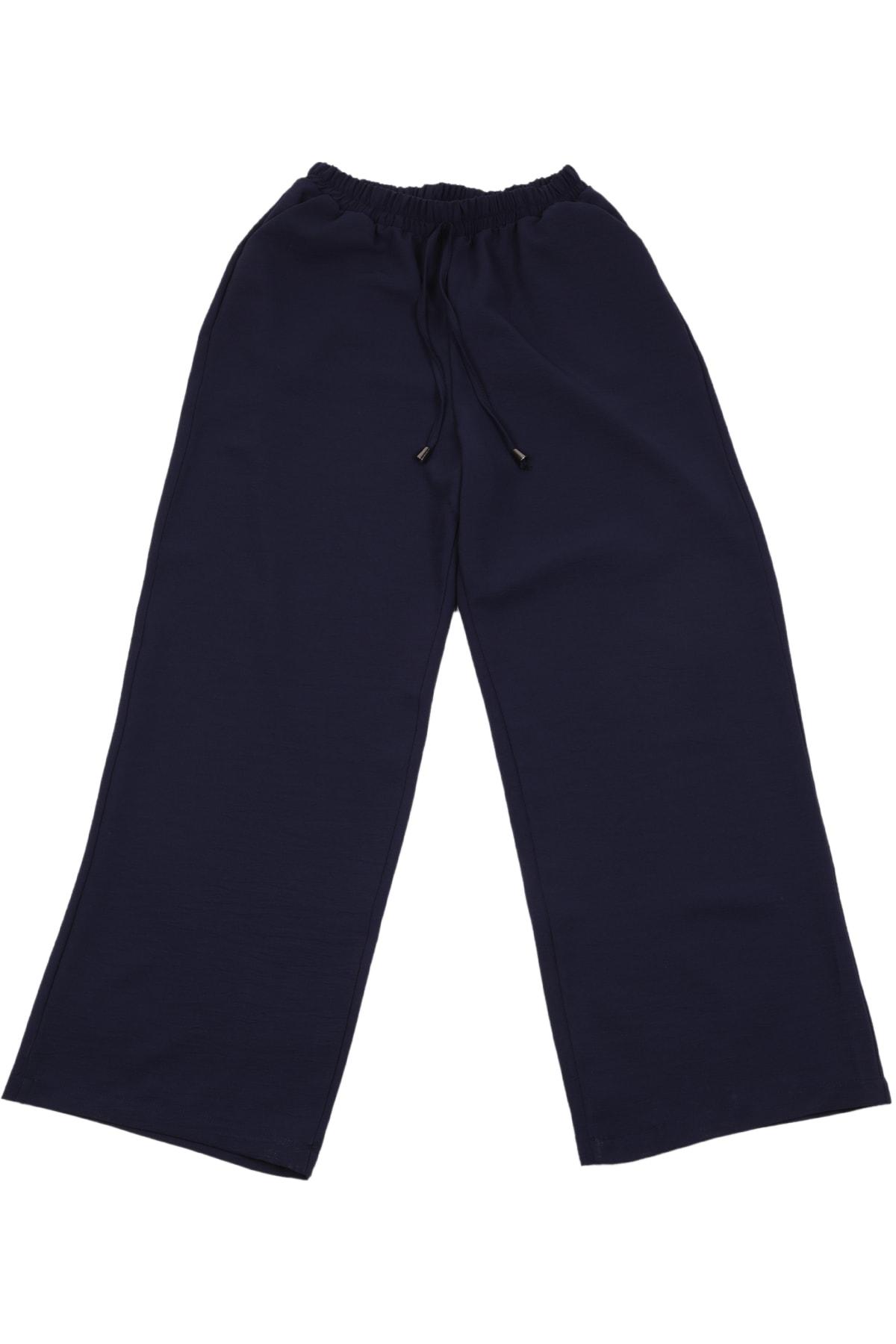 Kadın Lacivert Palazzo Tiril Kumaş Beli Lastikli Geniş Paça Yazlık Pantolon