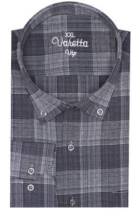 تصویر از Erkek Füme Süper Büyük Beden Uzun Kollu Yaka Düğmeli Kareli Tek Cepli Gömlek