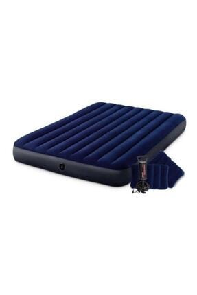 Intex Fiber-tech Çift Kişilik Şişme Yatak Set Kamp Yatağı 2 Adet Yastık Ve Pompa Dahil-64765 2