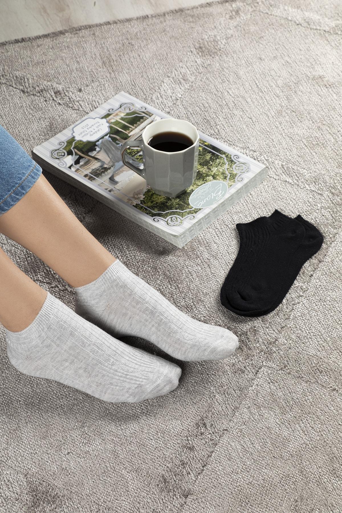 English Home Sophia Pamuk 2'li Kadın Çorap Siyah- Gri