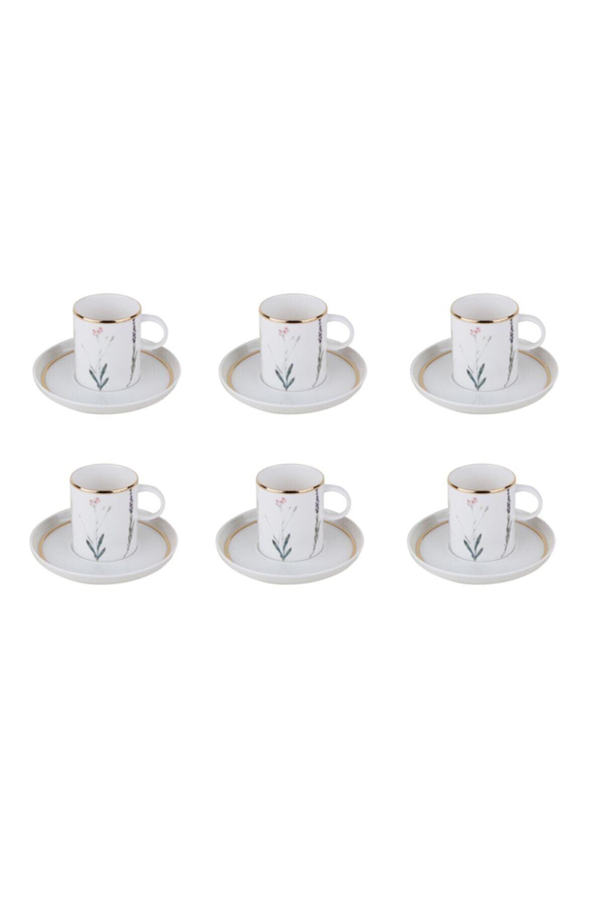 Botanical Beyaz Kahve Takımı 12 Parça
