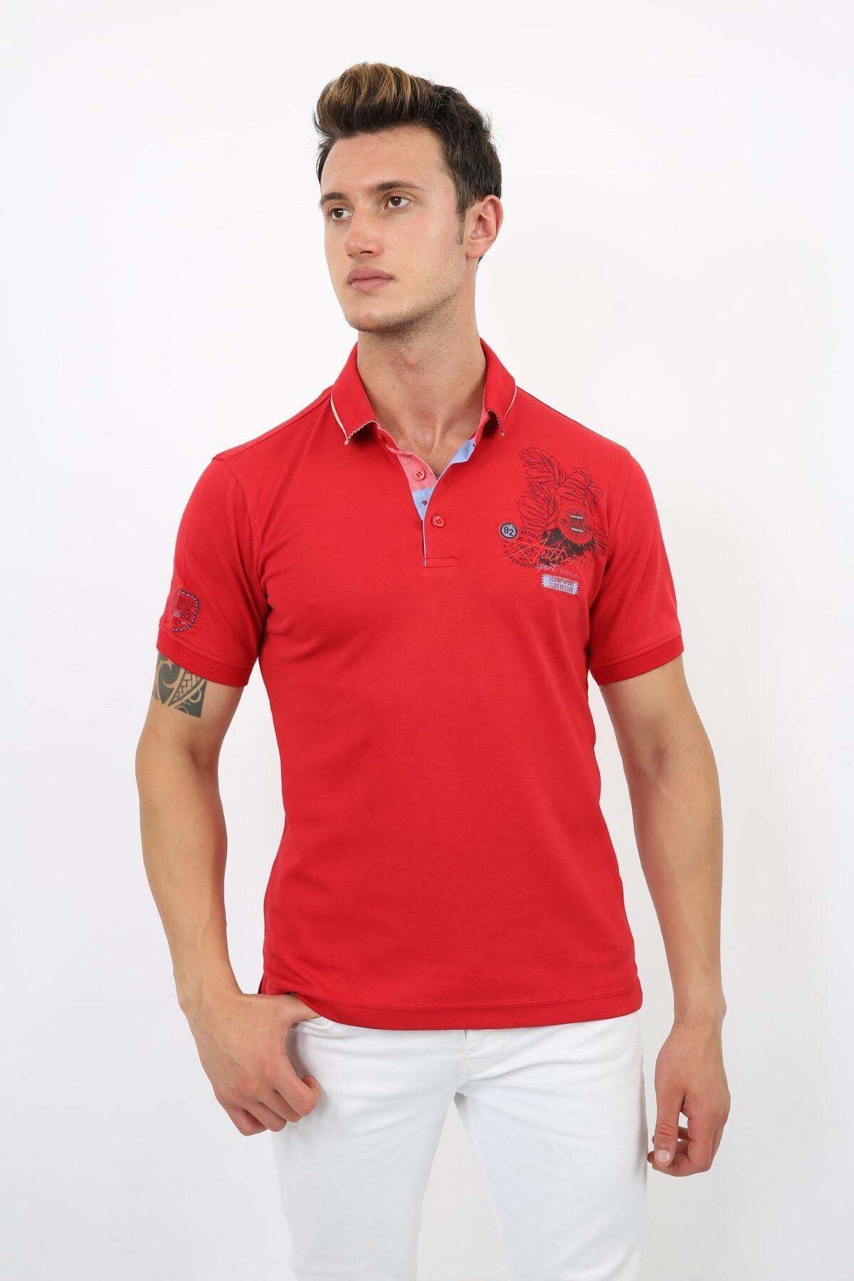 82 Logolu Erkek Kırmızı Polo Yaka 1005