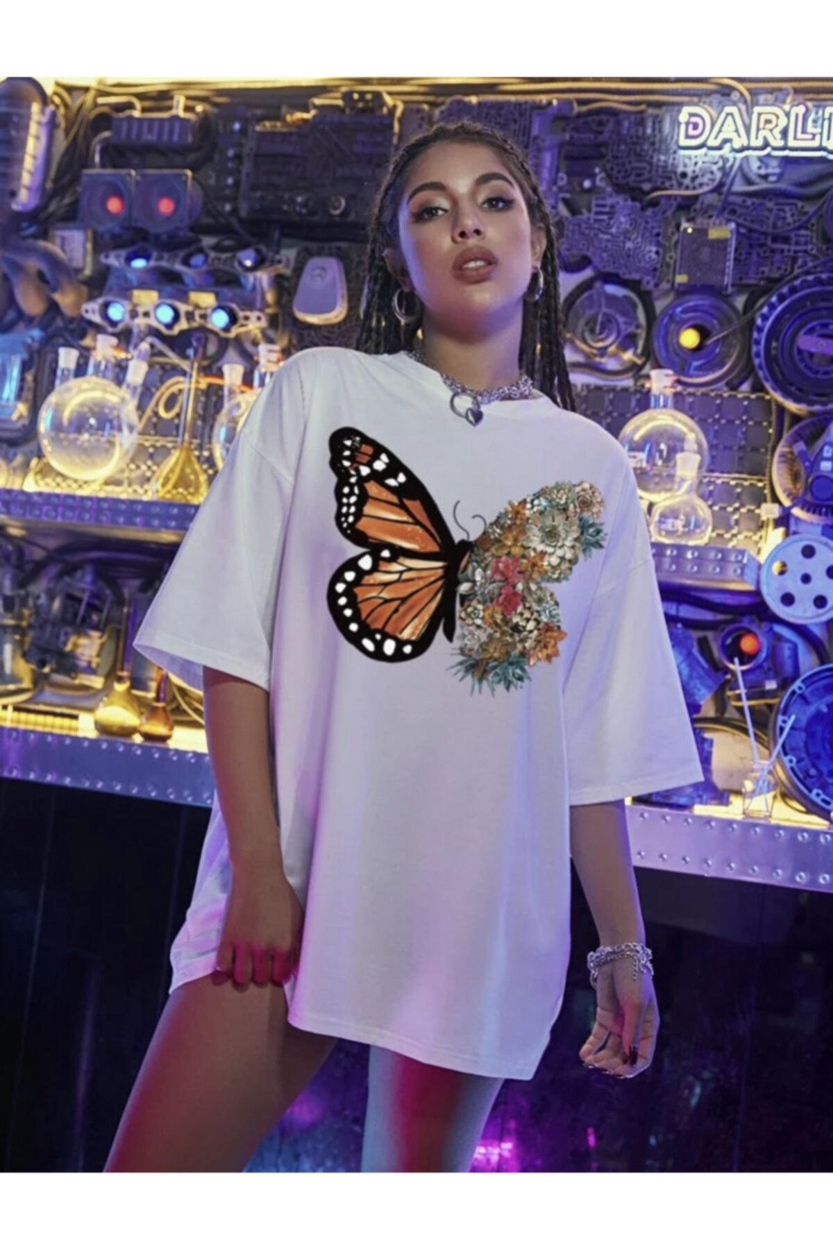 Kadın Beyaz Baskılı Tshirt (k)