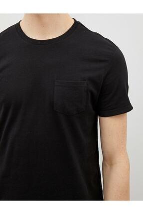 Koton Erkek Siyah Bisiklet Yaka Kısa Kollu Basic Pamuklu T-Shirt 3