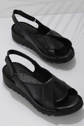 Bambi Siyah Hakiki Deri Kadın Sandalet K05907001803 0