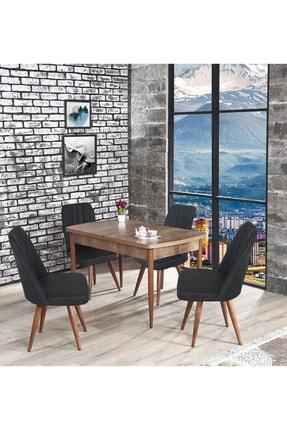 E Kelebek Yemek Masa Takımı Açılır Yemek Masası Seti Mutfak Masası Takımı - Gri CJRTVZ56