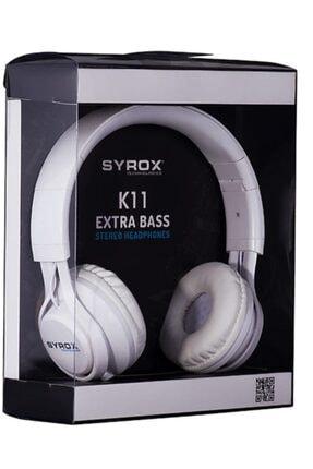 Syrox J-50 K11 Beyaz Kulaküstü Mikrofonlu Aux Kablolu Kulaklık 0