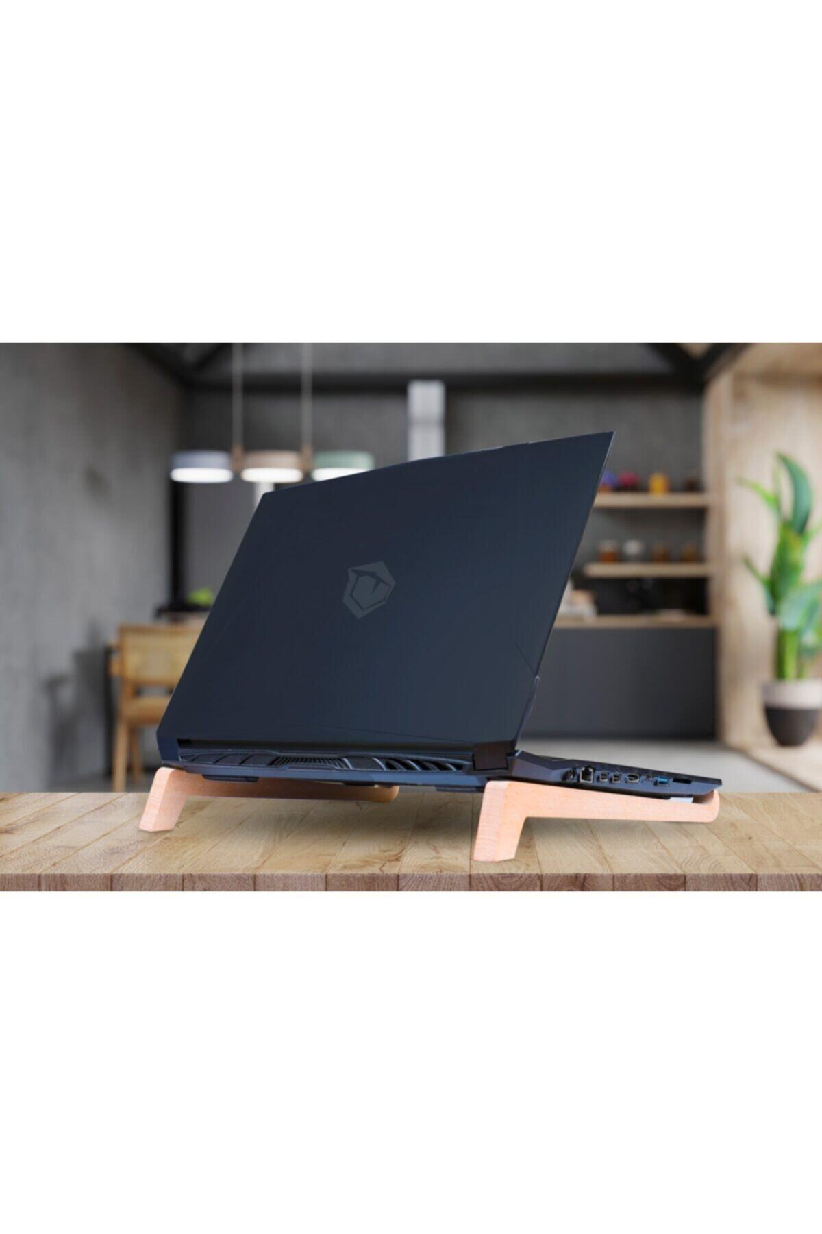 Laptop Tablet Standı Sehpası Soğutma Portatif Masif Ağaç Oyma Laptopstand