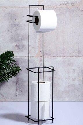 Kaliteli Siyah Ayaklı Tuvalet Kağıtlığı Wc Kağıtlık Paslanmaz Yedekli Tuvalet Kağıtlığı RENKBANYO257