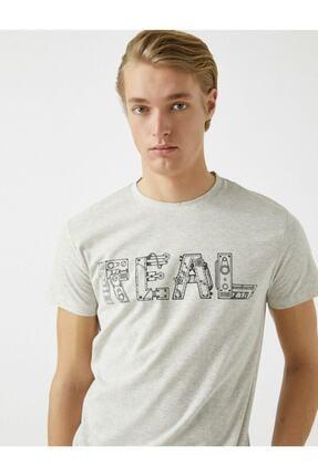 Koton Erkek Pamuklu Bisiklet Yaka Baskili Kisa Kollu  T-Shirt 0