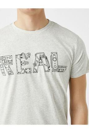 Koton Erkek Pamuklu Bisiklet Yaka Baskili Kisa Kollu  T-Shirt 4