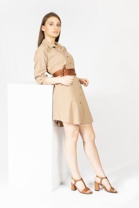 CZ London Kadın Kahverengi Topuklu Sandalet 1