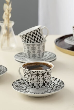English Home Carey Porselen 6'lı Kahve Fincan Takımı 90 ml Siyah 1
