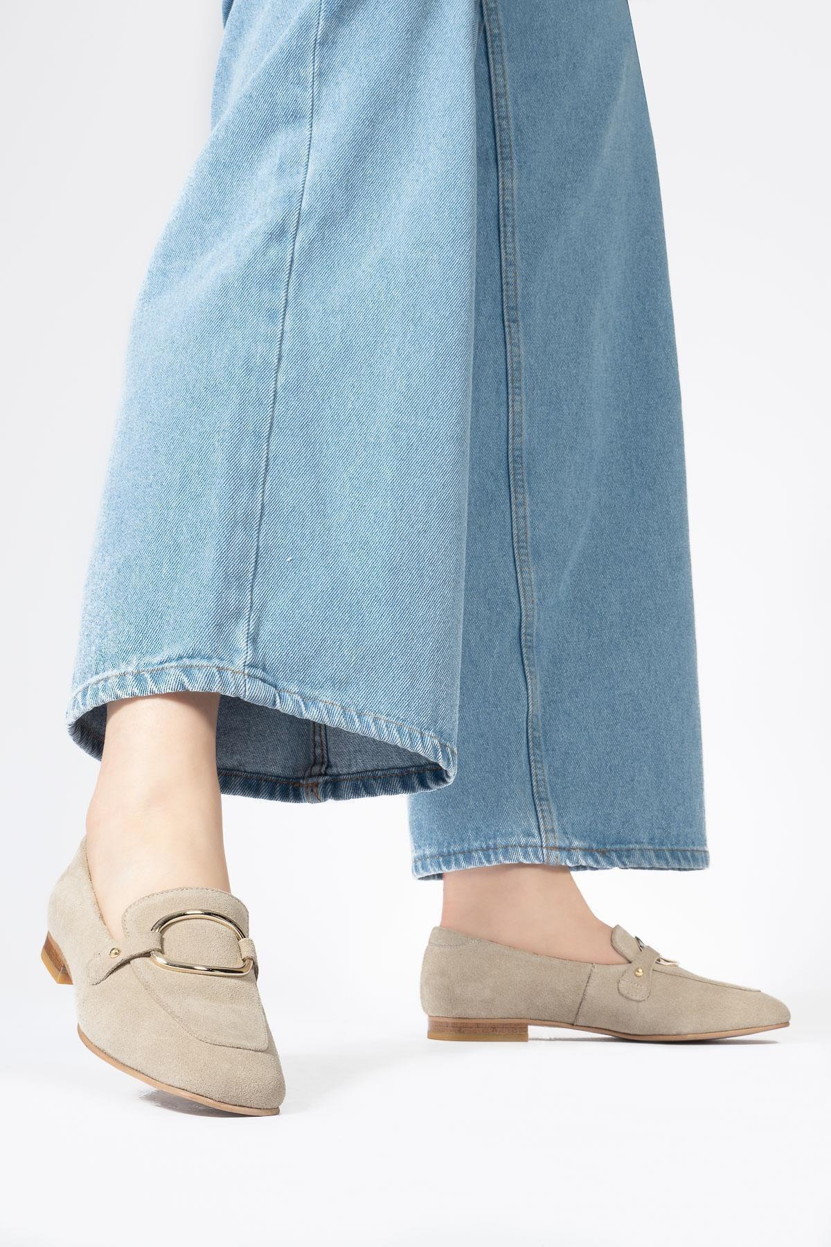 Kadın Bej Hakiki Deri Loafer Casual Günlük Ayakkabı