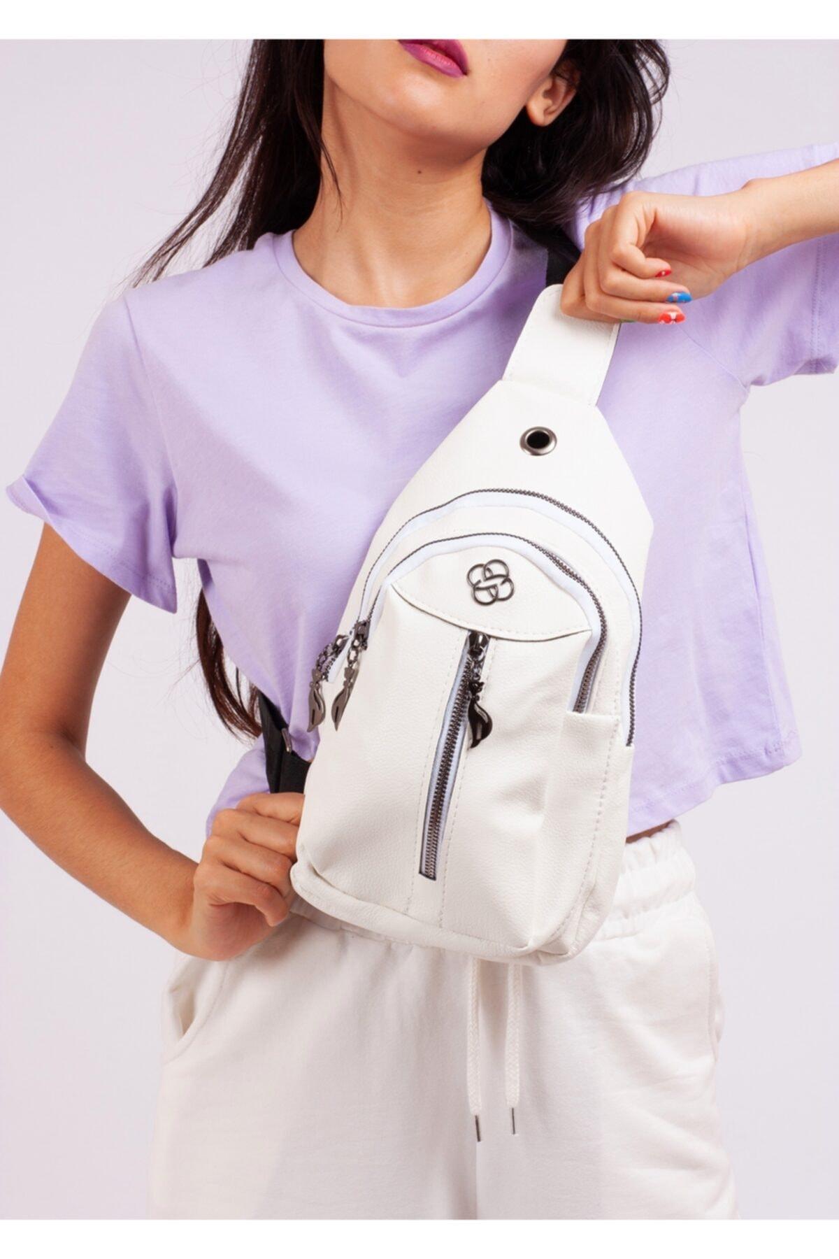 Kadın Beyaz Üç Gözlü Bodybag