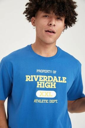 Defacto Erkek Riverdale Lisanslı Oversize Fit Bisiklet Yaka Tişört 2