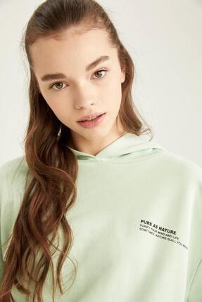 Defacto Organik Pamuklu Minimal Yazı Baskılı Relax Fit Sweatshirt 2