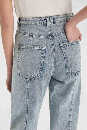 Defacto Kadın Mavi Slim Slouchy Fit Yıkamalı Jean Pantolon 3