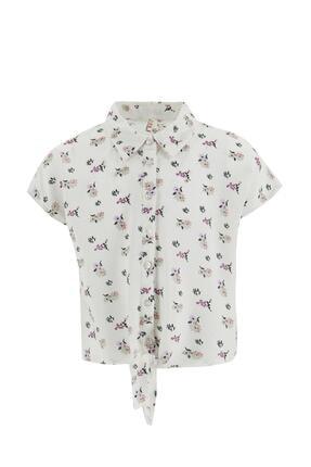 Defacto Kız Çocuk Çiçek Desenli Bağlama Detaylı Kısa Kol Gömlek 3