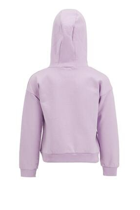 Defacto Kız Çocuk Mor Yazı Baskılı Sweatshirt 1