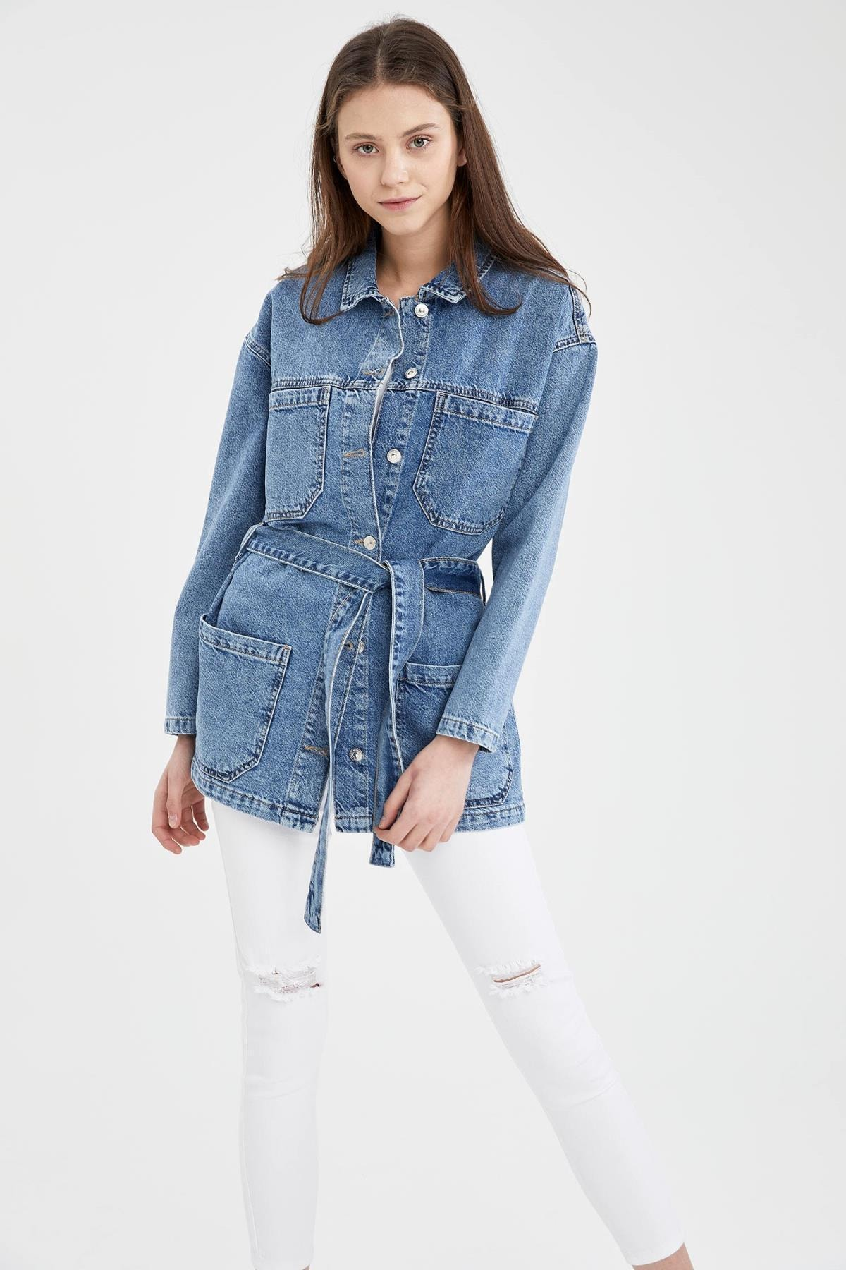 Kadın Mavi Kuşak Detaylı Relax Fit Tunik Jean Ceket
