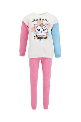 Defacto Kız Çocuk Ekru Unicorn Baskılı Sweatshirt Ve Jogger Eşofman Alt Takımı 0