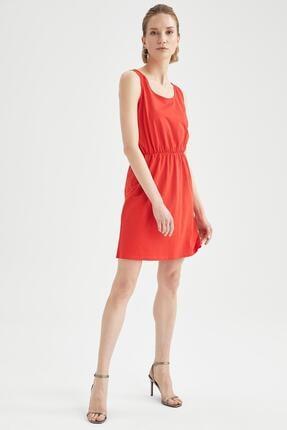 Defacto Askılı Basic Beli Büzgülü Relax Fit Miniyazlık Elbise 1