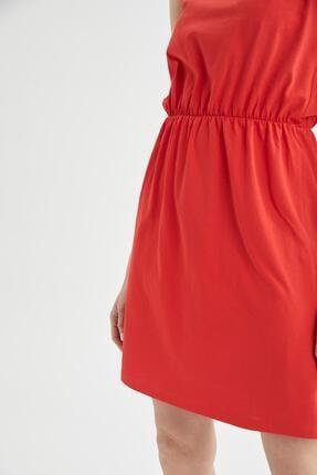 Defacto Askılı Basic Beli Büzgülü Relax Fit Miniyazlık Elbise 2