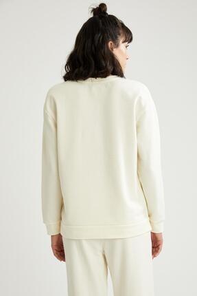 Defacto Kadın Ekru Relax Fit Sweatshirt 3