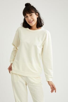 Defacto Kadın Ekru Relax Fit Sweatshirt 4