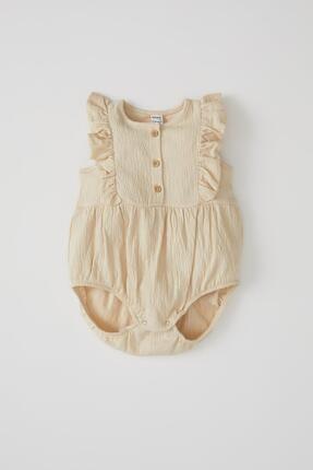 Defacto Kız Bebek Düğme Detaylı Kolsuz Dokulu Tulum 1