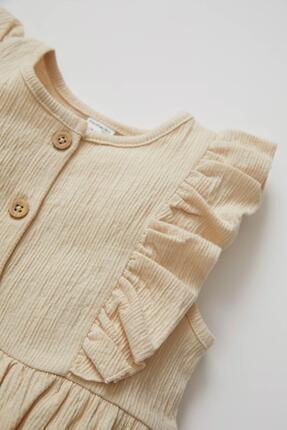Defacto Kız Bebek Düğme Detaylı Kolsuz Dokulu Tulum 2